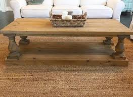 Baluster Coffee Table Large Square Rustic Baluster Wide Plank Coffee Table Farmhouse