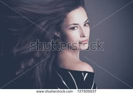attractive middle aged women dark hair attractive young woman long dark hair stock photo 727509937