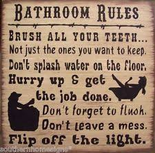 Old Western Home Decor Western Bathroom Rules Humerous Primitive Rustic Country Bath Sign