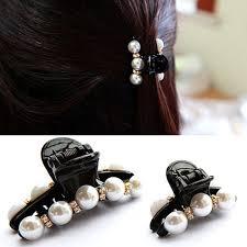 claw clip 1 x black hair claw clip pearl plastic hairpin