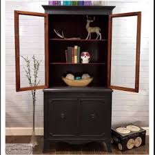 vintage china cabinet painted custom charcoal with original interior