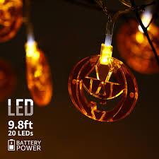 9 8ft 20 leds string lights with flat pumpkins pendants spooky