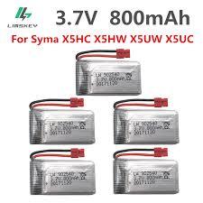 Toner Syma 5pcs set 3 7 v 800 mah lipo battery 1s for syma x5hc x5hw x5uw x5uc
