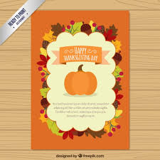 flat thanksgiving card vector free