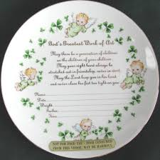 irish decorative porcelain plate to record baby u0027s birth shamrocks
