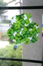 st patrick u0027s day crafts shamrock stained glass art with tissue paper