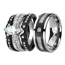 womens titanium wedding bands his hers 4 pcs black men 9 czs titanium matching band women