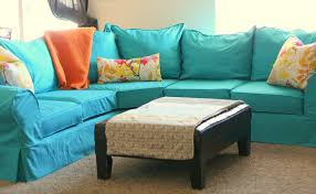 Diy Sofa Slipcover by Attractive Turquoise Soa Slipcovers Ideas With Rather Loose Model