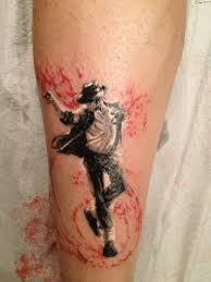 homemade style colored leg tattoo of michael jackson