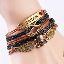 leather charm bracelet ebay images New infinity dream skull wings friendship antique copper leather jpg