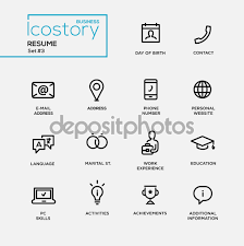Resume Additional Information Modern Resume Simple Thin Line Design Icons Pictograms Set