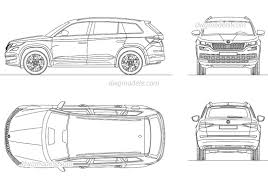 skoda kodiaq 2017 skoda kodiaq 2017 cad block free autocad drawings download 2d
