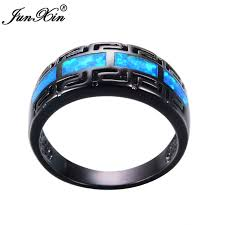 rings with fire images Junxin male female blue fire opal ring black gold filled vintage jpg