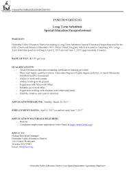 Paraprofessional Resume Sample by Substitute Paraprofessional Resume Free Resume Example And