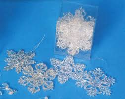 3 5 clear snowflake ornaments pkg 8