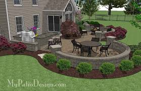 Large Paver Patio Design With Grill Station  Seat Walls - Patio wall design