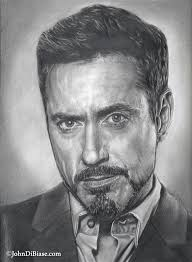 pencil drawing of robert downey jr as tony stark iron man