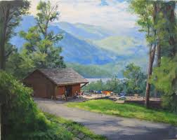 appalachian trail series painting 2 fontana dam shelter plein