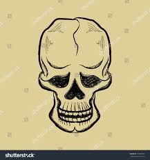 Halloween Skull Drawings Drawing Pen Skull Smile Holidays Halloween Stock Vector 315998756