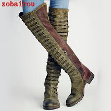 s boots knee high brown zobairou winter design s fashion high quality army green