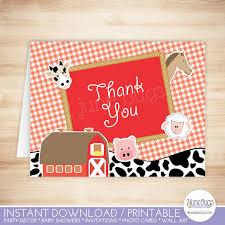 farm thank you card template farm animals folded thank you card