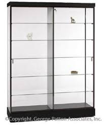 Display Cabinets Black Finish Top Lighting Glass Doors