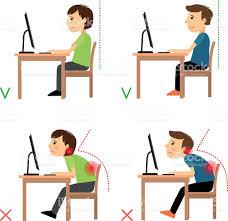 position assise bureau incorrect et bonne position assise le dos cliparts vectoriels et