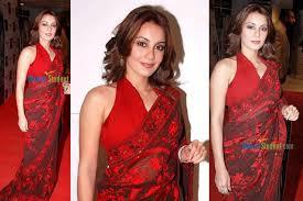 halter neck blouse minissha lamba in slef border embroidery saree with halter