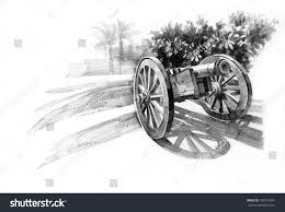 pencil drawing old artillery cannon stock illustration 189172991