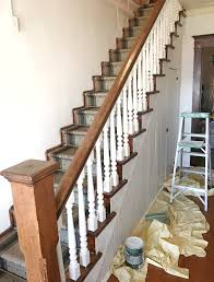 How To Build A Stair Banister How To Paint Stair Spindles Junque Cottage