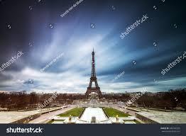 beautiful ominous long exposure eiffel tower stock photo 346749533
