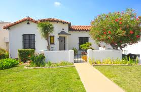 front courtyard in california spanish bungalow home spanish