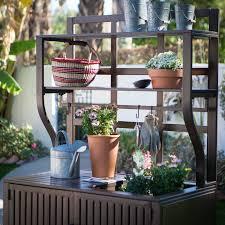 belham living modern metal outdoor potting bench with storage
