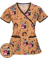 giving with friends print scrub top thanksgiving scrubs