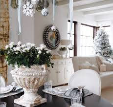 christmas home decorations ideas interior fancy white theme for christmas with silver hanging