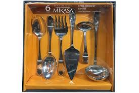 amazon com mikasa bravo 6 piece serving set in stainless steel