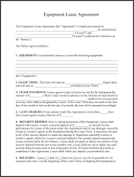 equipment lease agreement template free download speedy template