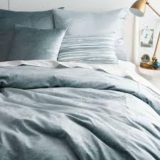 west elm coverlet washed cotton lustre velvet quilt cover pillowcases dusty blue