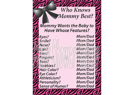 pink zebra print baby shower game who knows mommy best game