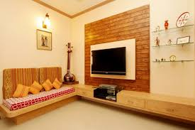 interior design ideas for small homes in india indian living room interior ideas in orange theme with wooden wall