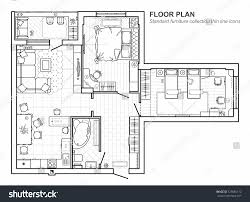 floor plan icons floor plan furniture top view architectural stock vector 725886112