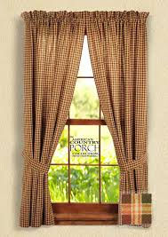Country Porch Curtains Plaid Tieback Curtain Panels