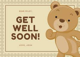 get well soon cards adorable brown get well soon card templates by canva