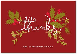 christmas thank you cards christmas swag folded thank you cards in rich