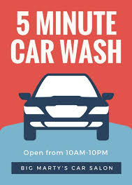 blue red illustrated car wash flyer templates by canva