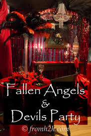 halloween party table decorations fallen angels and devils party ideas devil angel and halloween