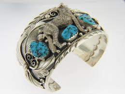 vintage silver turquoise bracelet images Vintage very fine howling wolf and turquoise cuff bracelet in 925 jpg