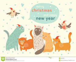 happy new year card happy christmas and happy new year card with cats and birds