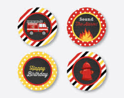 firefighter cupcake toppers instant truck favor tags firetruck thank you tags
