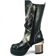 buy womens biker boots skull print womens biker boots with chains by hades gothic boots